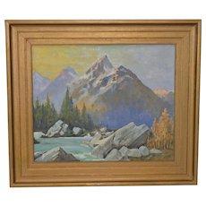 "Harry Hibner (1894-1967) ""Grand Teton"" Western Mountain Landscape Oil Painting c.1940s"