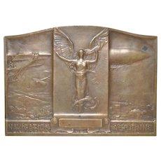 French Navigation Aerienne Leppelin Bronze Plaque by Alexandre Morlon c.1909