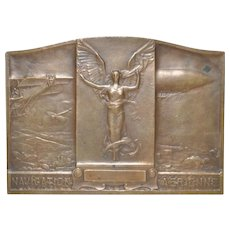 French Navigation Aerienne Leppelin Bronze Plaque by Alexandre Morlon c.1909