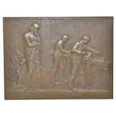 """Bronze Plaque """"Theophile Roussel School"""" by Daniel Dupuis c.1893"""