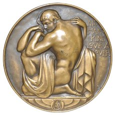 All Man Kind Love A Lover Bronze Medallion by Robert Aitken c.1930s