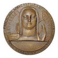 Brussels World's Fair Bronze Medallion by RAU c.1958