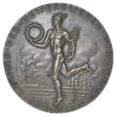 "Edwin Grienauer ""Chamber of Commerce, Vienna"" Bronze Medallion c.1950s"