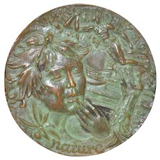 """Nature"" Sculptural Bronze Medallion by Sculptor Lohman c.1966"