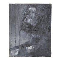 "Arthur J. Krakower (1921-2009) ""Black & Gray Abstract"" Original Oil on Canvas c.1998"
