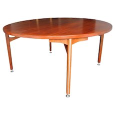 Jens Risom Round Walnut Dining Table