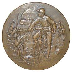 Antique Bronze Medallion w/ Bicycle & Train by A. Erdmann c.1900
