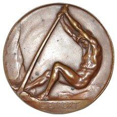 "Josuë Dupon Art Deco Bronze ""Royal Air Club of Belgium"" Medallion c.1930"
