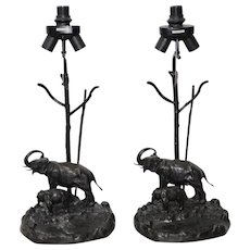 Pair of Italo Valenti Silver Plate Patinated Bronze Elephant & Calf Table Lamps