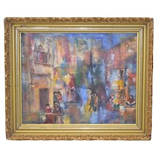 Vintage Abstract City Scene w/ Cafe & Flower Vendor Oil Painting