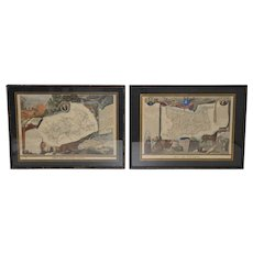 19th C. French Maps by Victor Levasseur - Hand Colored Engravings c.1850s