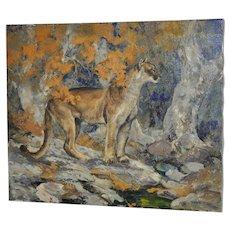 """Bill Freeman (1927-2012) """"Listening"""" Cougar Oil Painting"""