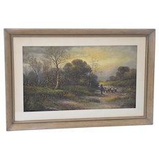 Shepherding Sheep Down a Country Land Original Pastel Painting c.1920
