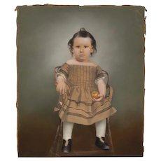 "Americana Folk Art Portrait ""Seated Child w/ Apple"" c.1880"
