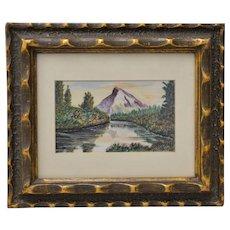 Western Mountain Landscape Watercolor c.1940s