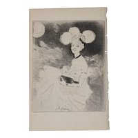 """Jean-Louis Forain (1852-1931) """"A Night Out"""" Original Etching c.1890s"""