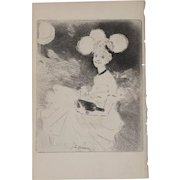 "Jean-Louis Forain (1852-1931) ""A Night Out"" Original Etching c.1890s"