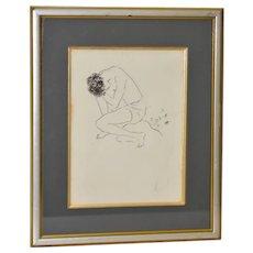 Marcel Vertes Figural Nude Pen & Ink Original Signed c.1940s