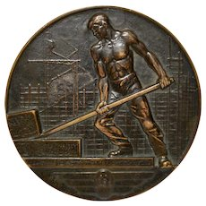"Art Deco Swizz Bronze Medallion ""Palace of Nations"" c.1933"