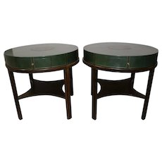 Pair of Tommi Parzinger Round Leather Side Tables 1950s