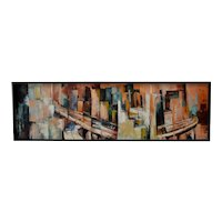 Large Mid Century Modern Abstract Painting by S. Johnson c.1959