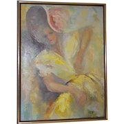 """Vintage Oil Painting """"The Yellow Dress"""" by Melba c.1960s"""