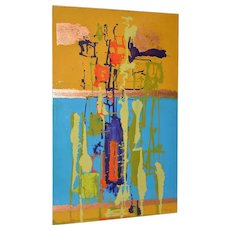 Modernist Abstract Enamel on Aluminum Painting