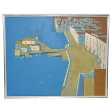 "Lowell Hecking (1908-1994) ""Quiet Lagoon"" Original Oil on Canvas c.1970s"