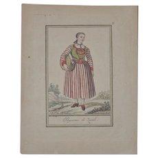 """Jacques Grasset de Saint-Sauveur """"Peasant of Zurich"""" Hand Colored Engraving c.1797"""
