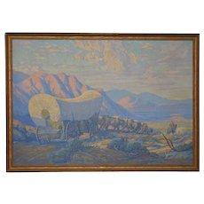 """Gilbert Tonge """"Pioneer Wagon Train"""" Original Serigraph c.1930s"""