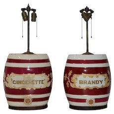A Pair of 19th Century Ceramic Barrel Dispenser Lamps