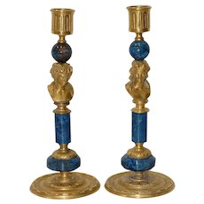 A Pair of 19th Century French Brass & Lapis Lazuli Candlesticks