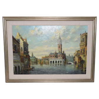 Vintage Venice Italy Oil Painting c.1970