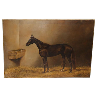 """Thoroughbred """"Star Lily"""" Oil Painting by C.B. Fish c.1890"""