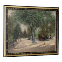 At the Gates of Pinehurst Original Oil Painting by Mansfield c.1885