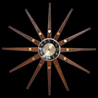 "Vintage Teak ""Forestville"" Starburst Wall Clock c.1960s"