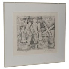 Danny Edwards Abstract Black & White Etching c.1989