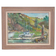 "Blessing ""Betty"" LeMohn ""Mendocino Coast"" Oil Painting c.1950s"