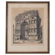 Veduta del Prospetto dell'Arco di Giano Etching by Luigi Rossini c.1820