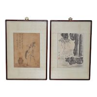 Pair of Vintage Chinese Watercolor Paintings c.1910