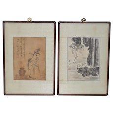 Pair of Vintage Chinese Watercolor Paintings c.1910