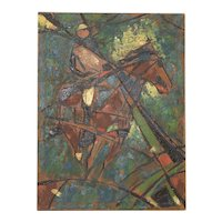 """Vintage Impasto """"Polo Match"""" Abstract Oil Painting c.1980"""