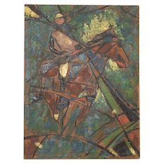"Vintage Impasto ""Polo Match"" Abstract Oil Painting c.1980"