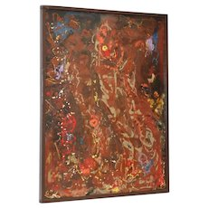 """Mid Century Modern Abstract """" Autumn"""" Oil Painting by J. Lloyd Conrich c.1966"""
