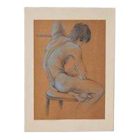 Figural Nude Study in Graphite c.1980s