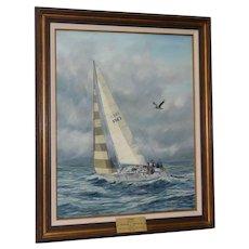 """Islander 36 Sloop """"Chimo"""" Original Oil Painting by Diane Beeston c.1980s"""