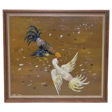 "Vintage ""Cock Fight"" Oil Painting by Jose Ruiz"
