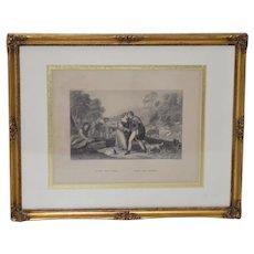 Jacob & Rachel by Giorgione, Steel Engraving by A.H. Payne c.1874
