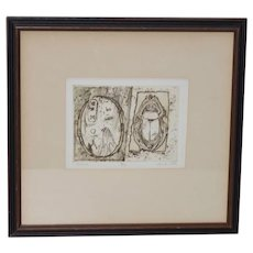 Scarab & Cartouche Etching w/ Aquatint by Ellie Rea Golden