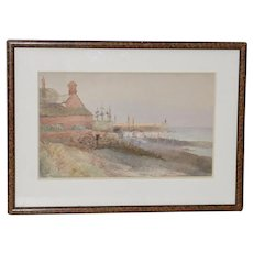 Early 20th Century Seaside Home Watercolor c.1930s